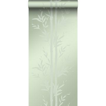 carta da parati bambù verde oliva grigiastro da Origin