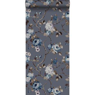 carta da parati fiori blu vintage e grigio talpa da Origin