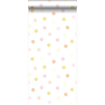carta da parati puntini pois polka dots giallo pastello chiaro, arancio pesca pastello chiaro, rosa cipria pastello chiaro e bianco opaco da Origin