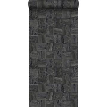carta da parati tessuto non tessuto struttura eco pezzi quadrati di rottami di legno nero scuro da Origin