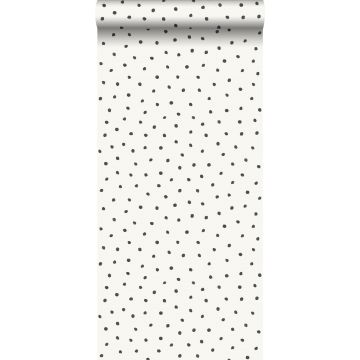 carta da parati fiocci di neve irregolari polka dots bianco lucido e nero da Origin