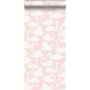 carta da parati cigni rosa e bianco da Origin