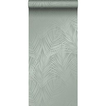 carta da parati foglie di palma verde grigiastro da Origin