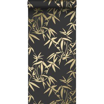 carta da parati foglie di bambù nero e oro da Origin