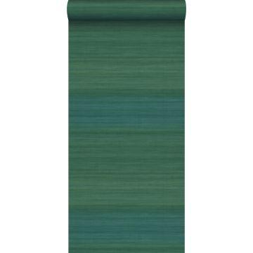 carta da parati struttura intrecciata con colori sfumati verde del mare da Origin