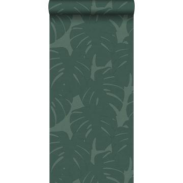 carta da parati foglie con struttura intrecciata verde del mare da Origin
