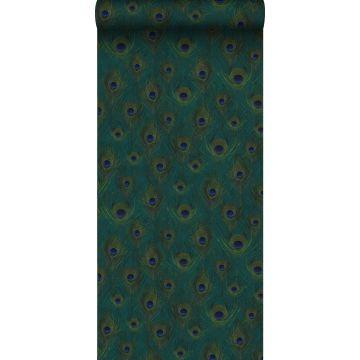 carta da parati tessuto non tessuto struttura eco piume di pavone verde del mare da Origin