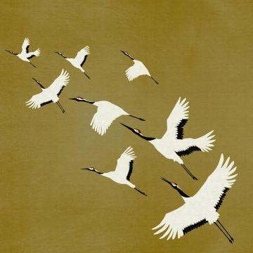 fotomurale uccelli gru giallo ocra da Origin