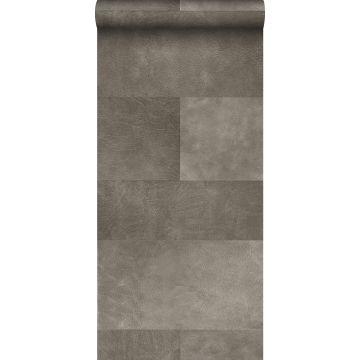 carta da parati XXL in TNT effetto di piastrelle con effetto pelle grigio caldo da Origin