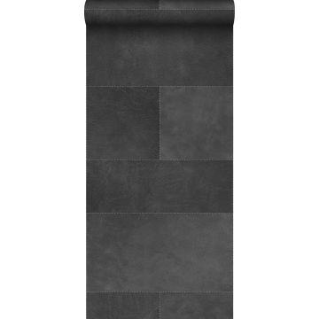 carta da parati XXL in TNT effetto di piastrelle con effetto pelle grigio scuro da Origin